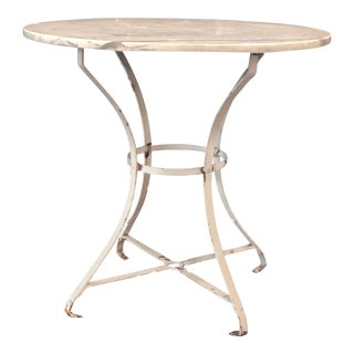 Vintage French Round Painted Bistro Kitchen Table With Marble Top For Sale