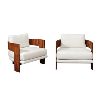 Remarkable Pair of Modern Emperor's Chairs by Milo Baughman, Circa 1966 For Sale