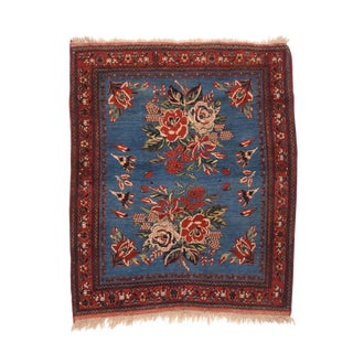 "1910s Antique Blue Afshar Persian Rug- 3'4"" X 4' For Sale"
