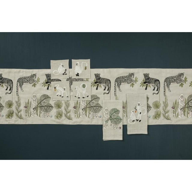 2010s French Ecru Linen Monkeys With Mango Tea Towel For Sale - Image 4 of 6