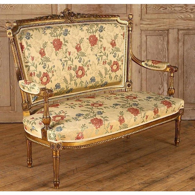 French French Gilt Wood Louis XVI Style Settee & Arm Chairs - Set of 5 For Sale - Image 3 of 13