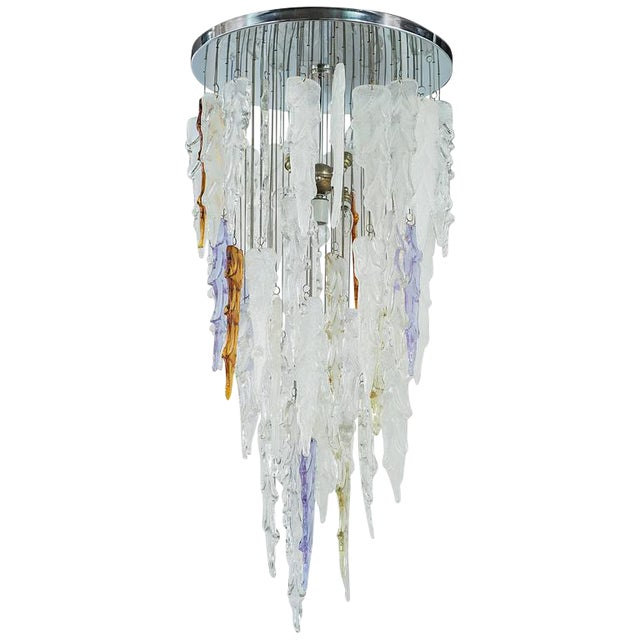 Lovely rare mid century modern murano icicle chandelier by mazzega rare mid century modern murano icicle chandelier by mazzega image 1 of 7 mozeypictures Gallery