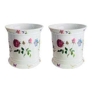 Ceralene Raynaud Flowers and Butterflies Ceramic Limoges Planters – a Pair For Sale