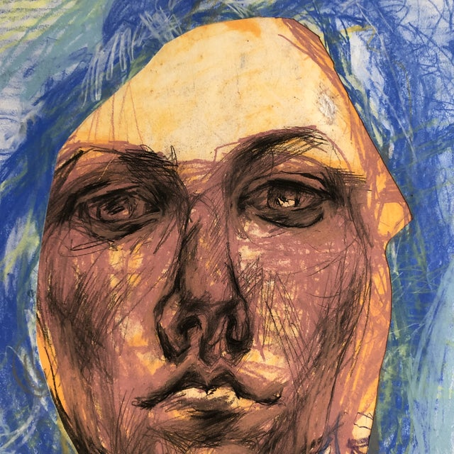 Abstract Original LargeContemporary Abstract Pastel Portrait Drawing For Sale - Image 3 of 6