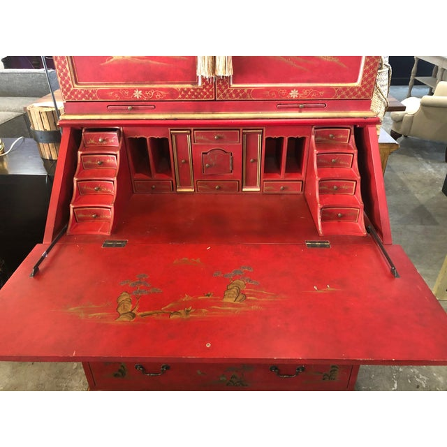 Metal Asian Style Hand Painted Secretary W/ Hutch For Sale - Image 7 of 13