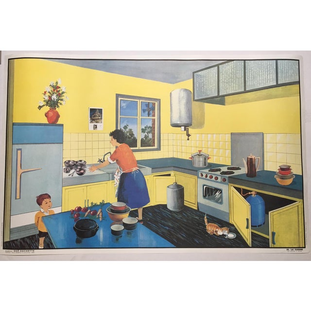 French Vintage French School La Rue/La Cuisine Two-Sided Poster For Sale - Image 3 of 3