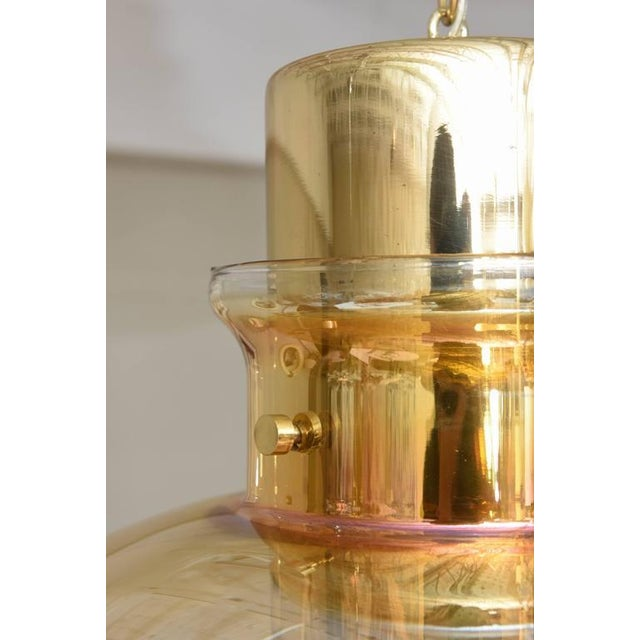 Large 1970s Brass and Amber Glass American Modernist Pendant For Sale - Image 9 of 10
