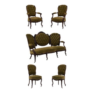 American Victorian Green Velvet Living Room Set - 5 Piece Set For Sale