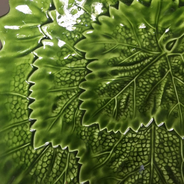 Green Italian Green Majolica Leaf Bowls-A Pair For Sale - Image 8 of 13