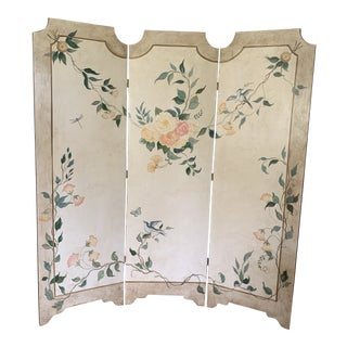 Chinoiserie Three Panel Hand Painted Folding Screen For Sale