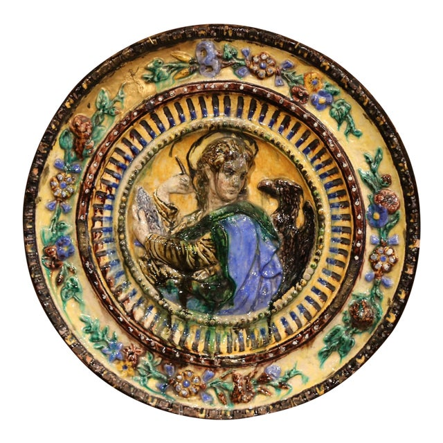 Large Early 20th Century Italian Hand-Painted Majolica Wall Charger For Sale