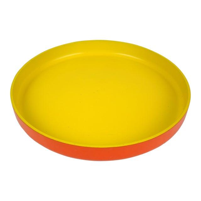 Op Art Yellow Orange Serving Tray For Sale