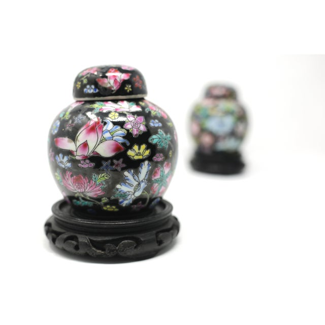 1970s Vintage Petite Black Ginger Jars With Colorful Flowers and Wood Stands - Set of 2 For Sale - Image 5 of 11