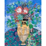Image of Lara Meintjes Bouquet of Proteas in Classical Greek Urn Floral Still Life Painting For Sale