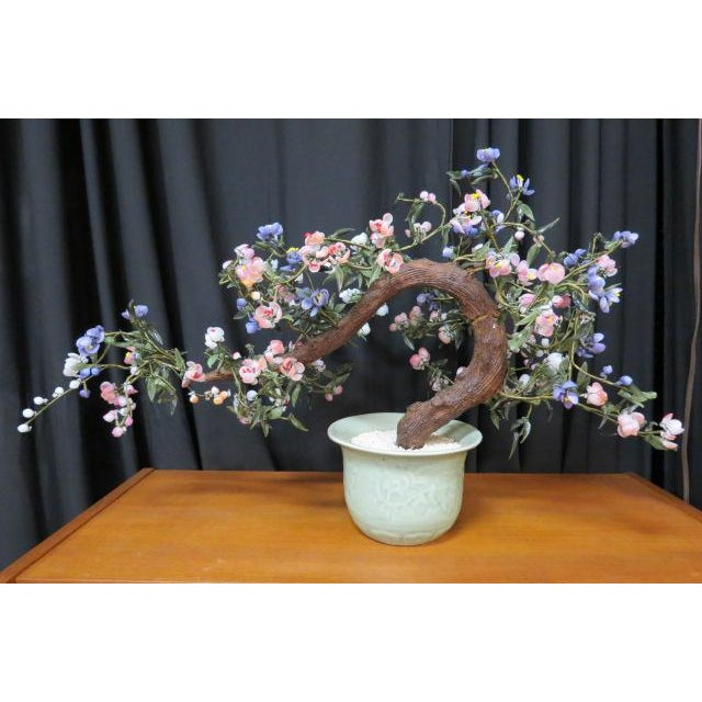 1960s Vintage Mid Century Modern Faux Chinese Jade Bonsai Tree in Planter For Sale - Image 5 of 5