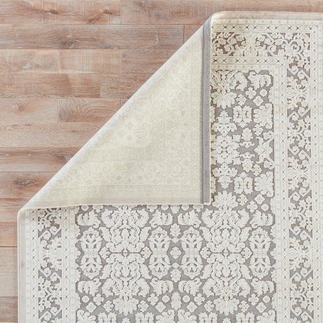 Boho Chic Jaipur Living Regal Damask Gray & White Runner Rug - 2′6″ × 10′ For Sale - Image 3 of 6