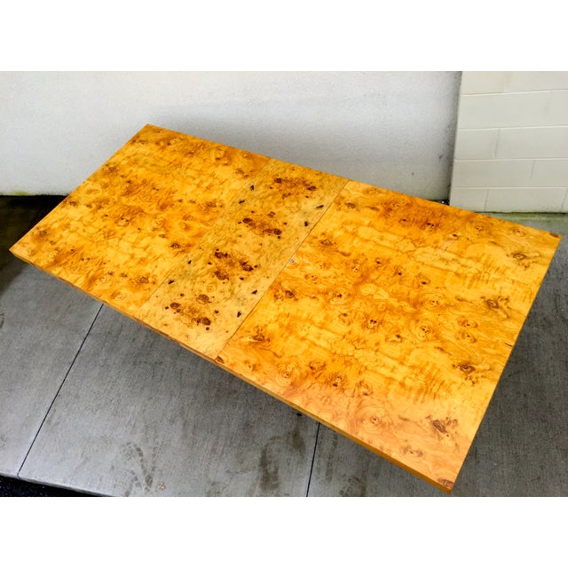 Burl Wood & Chrome Dining Table - Image 3 of 11