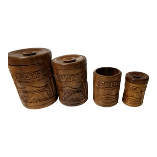 Tiki Wood Carved Kitchen Canisters - Set of 4