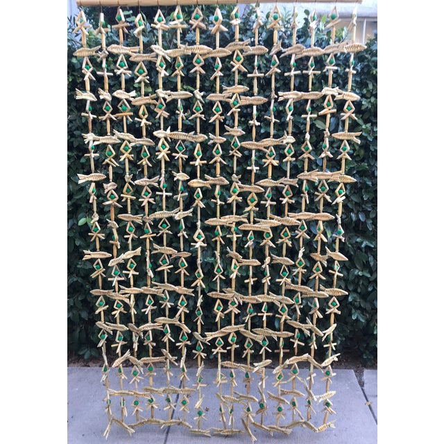 Hand Woven Grass Fish Beaded Curtain For Sale In Los Angeles - Image 6 of 6