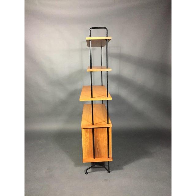 "56"" Blackened Steel and Birch Standing Shelf, Switzerland, 1950s For Sale - Image 4 of 11"