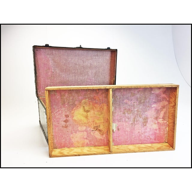 Green Vintage Industrial Green Us Military Foot Locker Trunk For Sale - Image 8 of 13