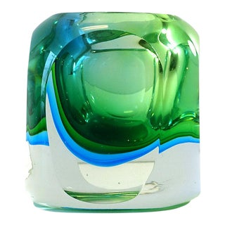 Mid 20th Century Vintage Blue Green Murano Style Orb Block Votive Vase For Sale