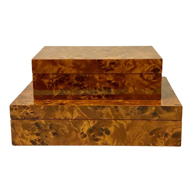 Italian Burlwood Boxes - A Pair - Image 1 of 9