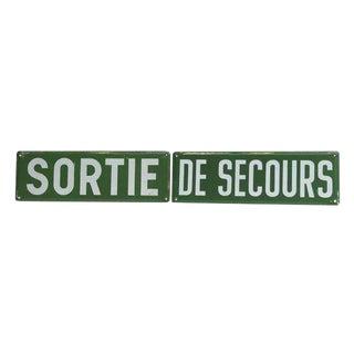 Vintage Sortie De Secours Sign Set - 2 Pc.