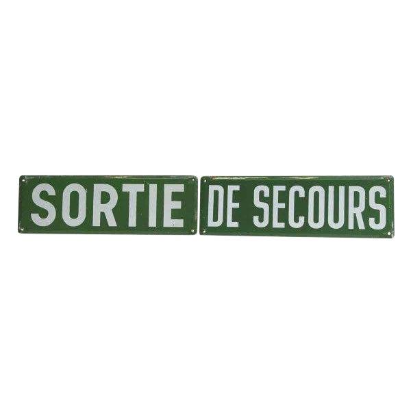 Vintage Sortie De Secours Sign Set - 2 Pc. For Sale