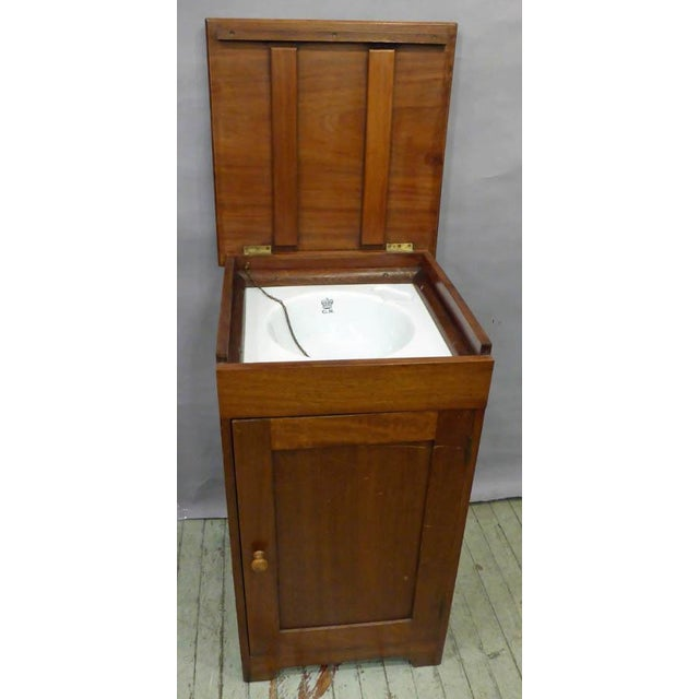 """Sink From a """"Royal"""" Ship. Wonderful English George V Circa 1910 , Mahogany cabinet with enameled nautical sink. Great form..."""