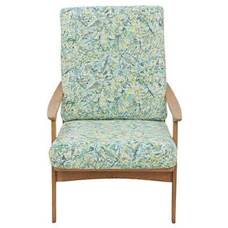 Mid Century Modern Upholstered Armchair For Sale