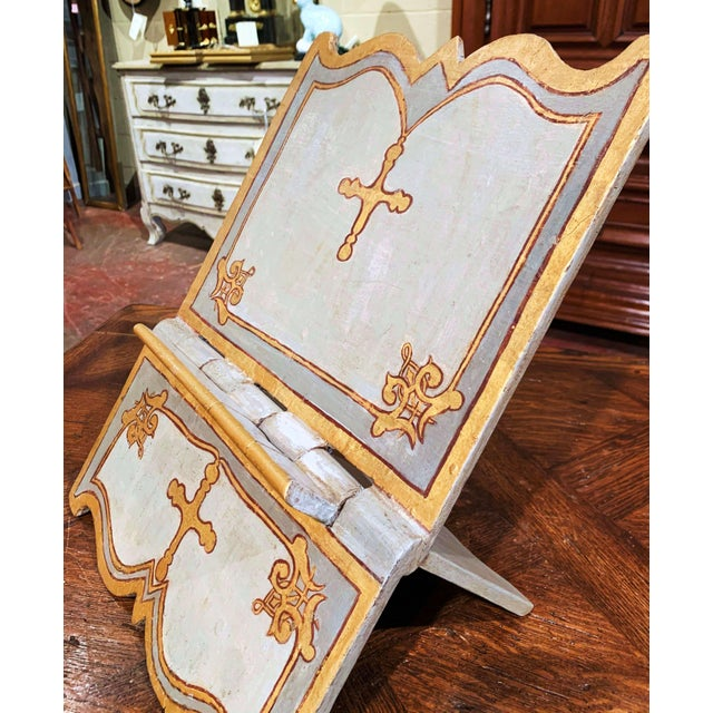 Baroque 18th Century Italian Carved Giltwood and Painted Holy Bible Folding Book Stand For Sale - Image 3 of 10