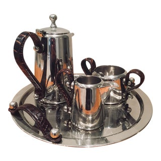 Modern Silver Tea Set With Leather Handles For Sale