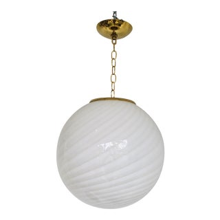 Italian White Murano Glass Globe Fixture For Sale