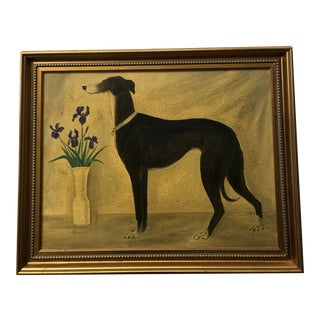 Vintage Original Classic Greyhound Portrait Painting With Irises For Sale