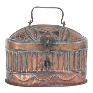 Antique Hinged Copper Box - Turkish Bath Soap Box For Sale
