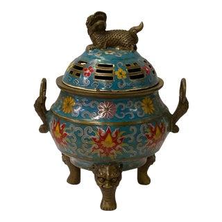 Chinese Metal Blue Enamel Cloisonné Round Ding Shape Incense Burner For Sale