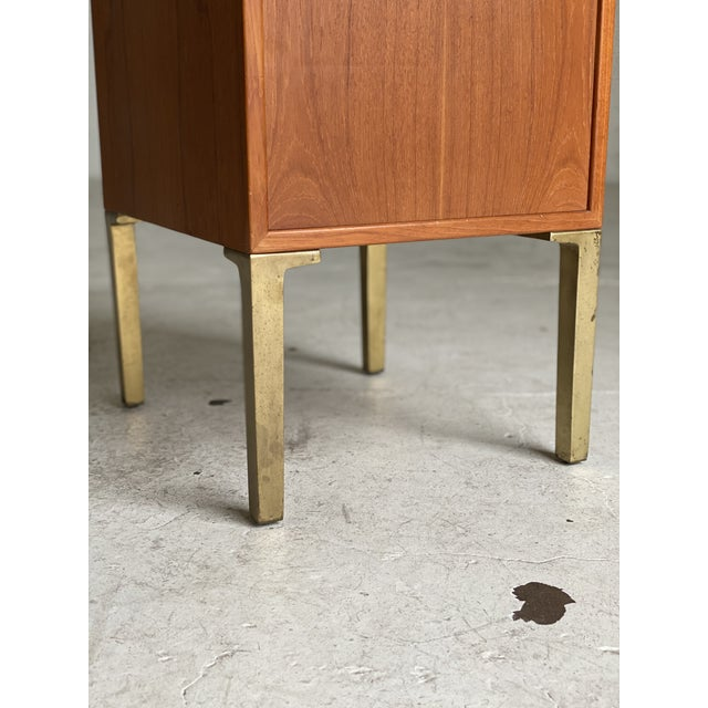 Mid-Century Modern Mid Century Walnut and Brass Filing Cabinet For Sale - Image 3 of 6