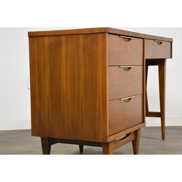 Kent Coffey Kent Coffey Tableau Walnut and Brass Desk For Sale - Image 4 of 12