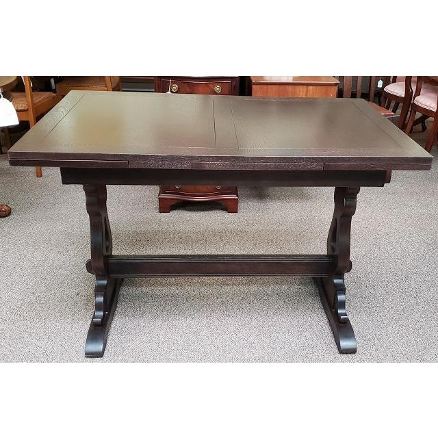 Oak English Oak Trestle Base Draw Leaf Dining Table C.1940 For Sale - Image 7 of 7