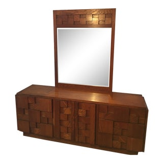 1970s Mid Century Staccato Lane Brutalist Triple Dresser With Mirror For Sale