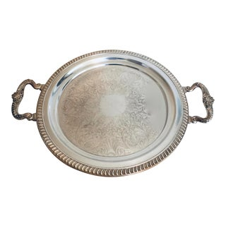 Vintage Silver Plate Serving Tray With Decorative Handles For Sale