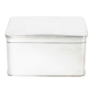Antique English Silver Plate Covered Box For Sale