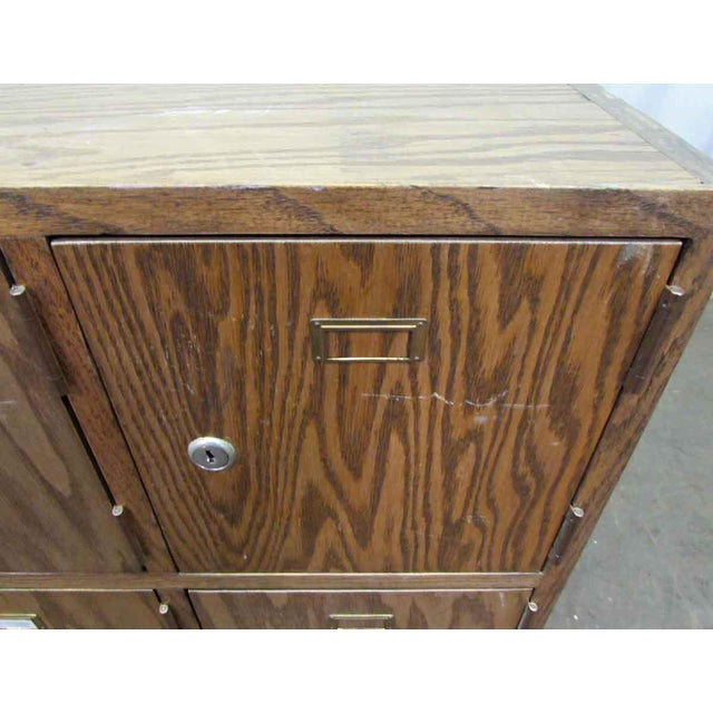 Brown Antique Wooden Locker Unit For Sale - Image 8 of 10