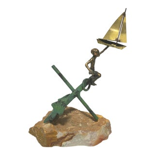 Nautical Anchor Sail Boat Bronze Sculpture on Base For Sale