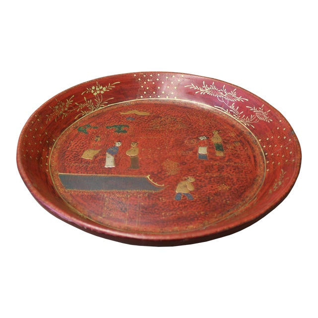 Chinese Red Lacquer Golden Scenery Round Tray Display Art For Sale