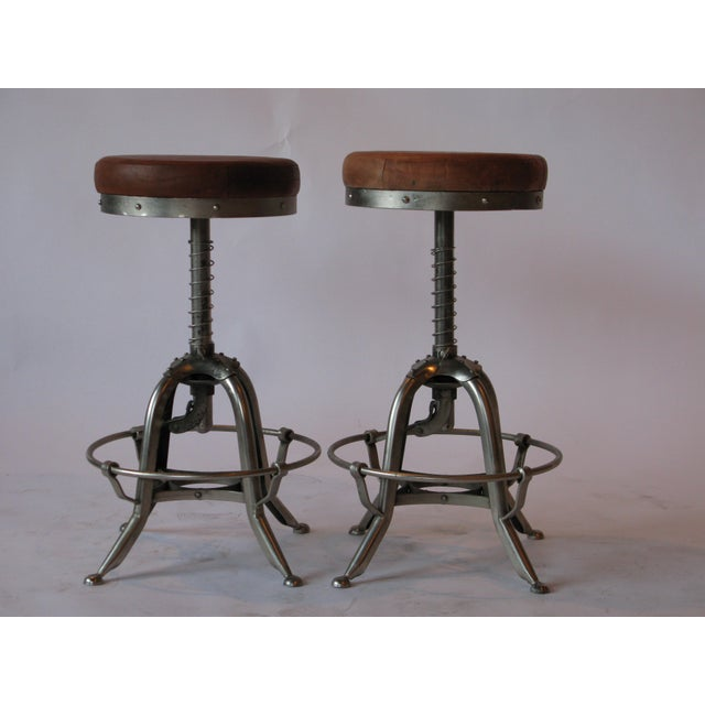 Metal Pair of Silver Tri Leg Stools For Sale - Image 7 of 7