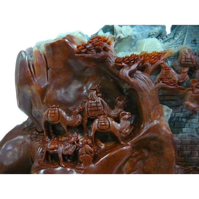 Asian Chinese ShouShan Stone Great Wall Display For Sale - Image 3 of 8