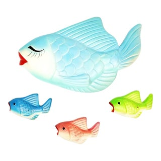 Mid Century Chalkware Fish Family of 4 Bathroom Wall Decor