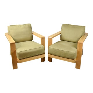 Vintage Large White Oak Slat Back Lounge Chairs - A Pair